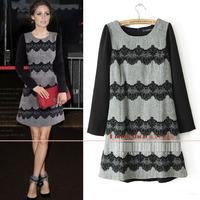 2014 womenfashion vintage long-sleeve o-neck flock printing lace decoration dress