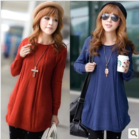 2013 autumn women's long-sleeve loose sweater medium-long plus size sweater basic outerwear