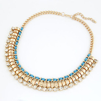 Min Order $10(Mix Items)2013 Fashion Gold Chain Handmade Braided Ribbon Cord tempest with Rhinestone Choker Statement Necklace
