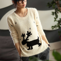 2013 women's autumn and winter fashion sweater loose long sweater pullover design