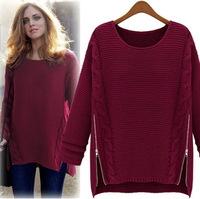 Fashion winter 2013 women's medium-long batwing sleeve thickening sweater o-neck loose sweater outerwear