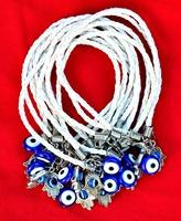 lot 20Pcs White String Leather Braided Bracelets Hamsa & Evil Eye Bead Kabbalah Charm ADF789