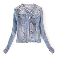 Women Clothes Korean version Pearl rivet denim jacket long-sleeved Jean Coat J_3
