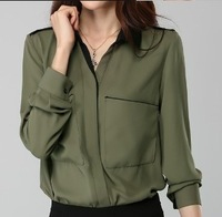 Slim long-sleeve chiffon shirt female ol women's turn-down collar shirt epaulette solid color plus size chiffon shirt female