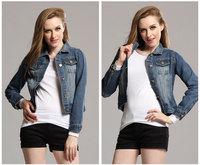 Women Lady Blue Long Sleeve Short denim Jeans jacket Top Coat Free shipping J_1