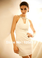 2014 new women's fashion boutique beauty bright diamond imports Breast shoulder party dress Slim waist dress girl