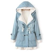 Autumn and winter berber fleece removable liner denim overcoat medium-long plus velvet thickening wadded jacket cotton-padded