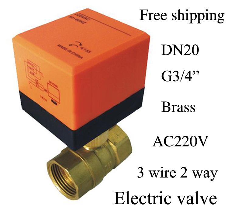 "Free shipping G3/4"" electric actuator valve,Cold&hot water/Water vapor/heat gas 2 way Brass Motorized Ball Valve,220VAC,CE(China (Mainland))"