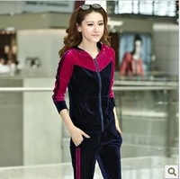 2013 spring and autumn slim velvet sportswear set bright color spring and autumn casual female pleuche
