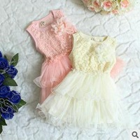 2013 summer  Kids  dress Perfect 2 color lace flowers sleeveless  girl dress  Children's princess dress  Size 3T-6T