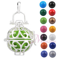 Mexican bola 925 silver cage chime pendant Pregnancy Women wear Belly bell necklace 18MM ball Color Choose free shipping H42