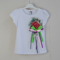 Flower 3D korea tees 5pcs/lot free shipping children t-shirts autumn -summer