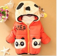 4 colors children winter coat outwear wadded jacket double pocket panda children cotton-padded jacket