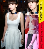 Free Shipping 2013 New Style Fashion Sexy Heart Open Back Evening Party Slim Women's Dress S M L