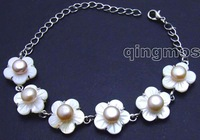 "Charming! Big 14mm white shell fleuret and Pink 7mm natural pearl adjustable 6-8.5"" Bracelet -bra254 Free shipping"
