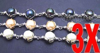 "Wholesale 3X different color 9-10mm natural pearl adjustable 6-8.5"" Bracelet -bra259 Free shipping"