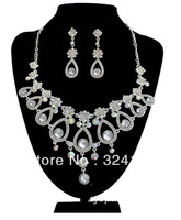 New Arrival Own factory Fashion AB  color rhinestone flower Bridal jewelry sets Best gifts for the bride