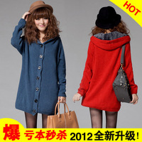 2013 autumn and winter medium-long plus velvet thickening sweater outerwear female cardigan plus size loose sweater