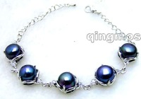"Charming! Big 9-10mm Black natural super luster pearl adjustable 6-8"" Bracelet -bra257 Free shipping"