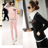 Sports set female autumn and winter thickening 2013 plus velvet plus size sweatshirt outerwear casual set autumn and winter