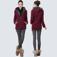 2013 women's winter cotton sweatshirt with a hood 100% wool zipper sweatshirt