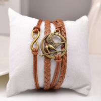 3 pcs/lot, bangle cuff handmade bracelet antique bronze alloy the hunger games bird infinity bracelet
