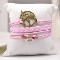 3 pcs/lot, promotion gifts wholesale new pink leather bracelet decorated with arrow hunger games bird
