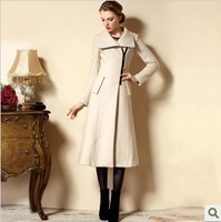 2014 newest cashmere women maxi long coat, winter warm long coat ,beige luxury outerwear,XS-3XL