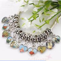 Wholesale - MIC Lot 208 Pcs Jesus Christianism Icon Heart Charm Beads 110645
