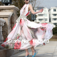 New Summer Elegant Boho Flower Print Lotus Leaf Big Hem Chiffon Summer Maxi Long Dress 2013 New Princess Style DR1733