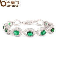 Luxury Mysterious Emerald Color CZ Water Drop Connected Zircon Crystal Bracelet Women White Gold Plated Exquisite Jewelry YIB013