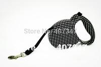 Wholesale  12pcs/lot Small Size Black and white Polka Dot Retractable Pet Dog Leash Free Shipping