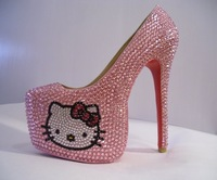 Free Shipping New 2014 Women Platform Pumps Thigh High Heels 16cm Hello Kitty Crystal Red Bottom Pumps Wedding Shoes