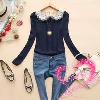 Peter pan collar south korean chiffon shirt women blouse lace blusas femininas 2014 roupas femininas