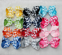 10colors Rainbow Hair larger 6inch chevron Ribbon Hair Bows Sculpture Hair Clippie fashion children accessory