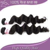 Human peruvian virgin hair weave loose wave 2pcs lot 100% unprocessed extension weft mix length DHL free shipping natural #1b
