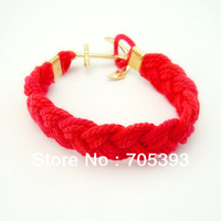 Hot Free Shipping Mix Order Hot Multicolor Braided Rope Bangle Anchor LOVE Two Charms Bracelet  Wholesales