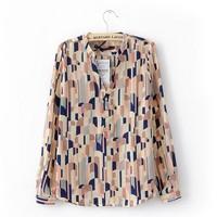 2014 New Arrival Fashion Tops Batwing Long-sleeve Loose Chiffon Shirt Lovely Geometric Printing Blouse shirt women