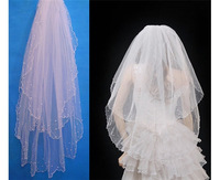 headwear Roll-up hem beads veil t01-2 bride wedding formal dress hair accessory  hairwear