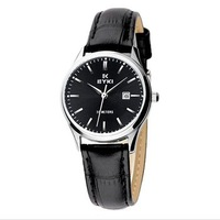 Eyki stainless steel case Leather strap quartz calendar lovers quartz watch for women  fashion business style