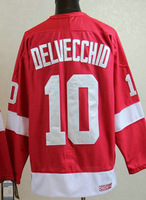 cheap Detroit Red Wings 10 DELVECCHID Red CCM embroidery logo ice hockey jerseys china cheap