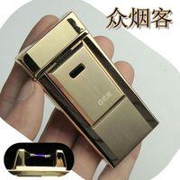 Ultra-thin metal windproof lighter charge lighter tiger pulse usb electronic cigarette lighter