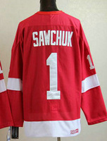 Free shipping Detroit Red Wings 1 SAWCHUK Red CCM embroidery jerseys embroidery men's ice hockey jerseys china cheap