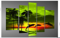 hand-painted oil wall art Green island dolphin sea decoration Landscape Framed canvas oil painting 5pcs/set mixorde
