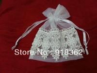 Factory Design!Free Shipping(100pcs/Lot)Good Quality,European Style!White Rect.Organza Wedding Favor Bag,w/Trim Deco,Ribbon