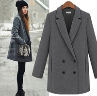 2013 2013 Tops Designed New Fall/Winter Coat Women Long Sleeve Oversize Thick Warm Wool Jacket Coatwomen's woolen jacket