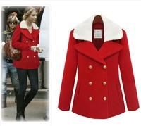 2013 winter new lamb wool coat double-breasted coat lapel warm woolen coat wholesale