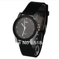 Korea Casual  Leather Strap  Black  Case Crystal Lady  Quartz Watch
