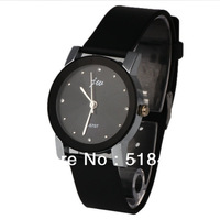 Korea Casual  Leather Strap  Black  Case Crystal Lady  Quartz Watch