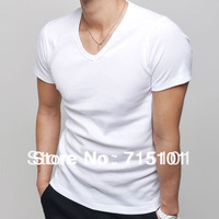 New Fashion Mens Cotton T Shirts Clothing Short Sleeve Tees Male V neck Top Shits Black White Red Pink Green Blue